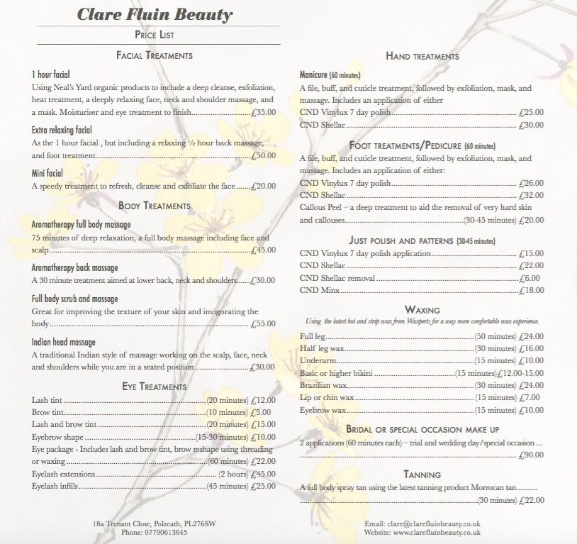 clare-fluin-beauty-price-list-treatments-north-cornwall